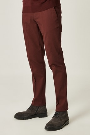 ALTINYILDIZ CLASSICS Erkek Bordo Slim Fit Desenli Pantolon