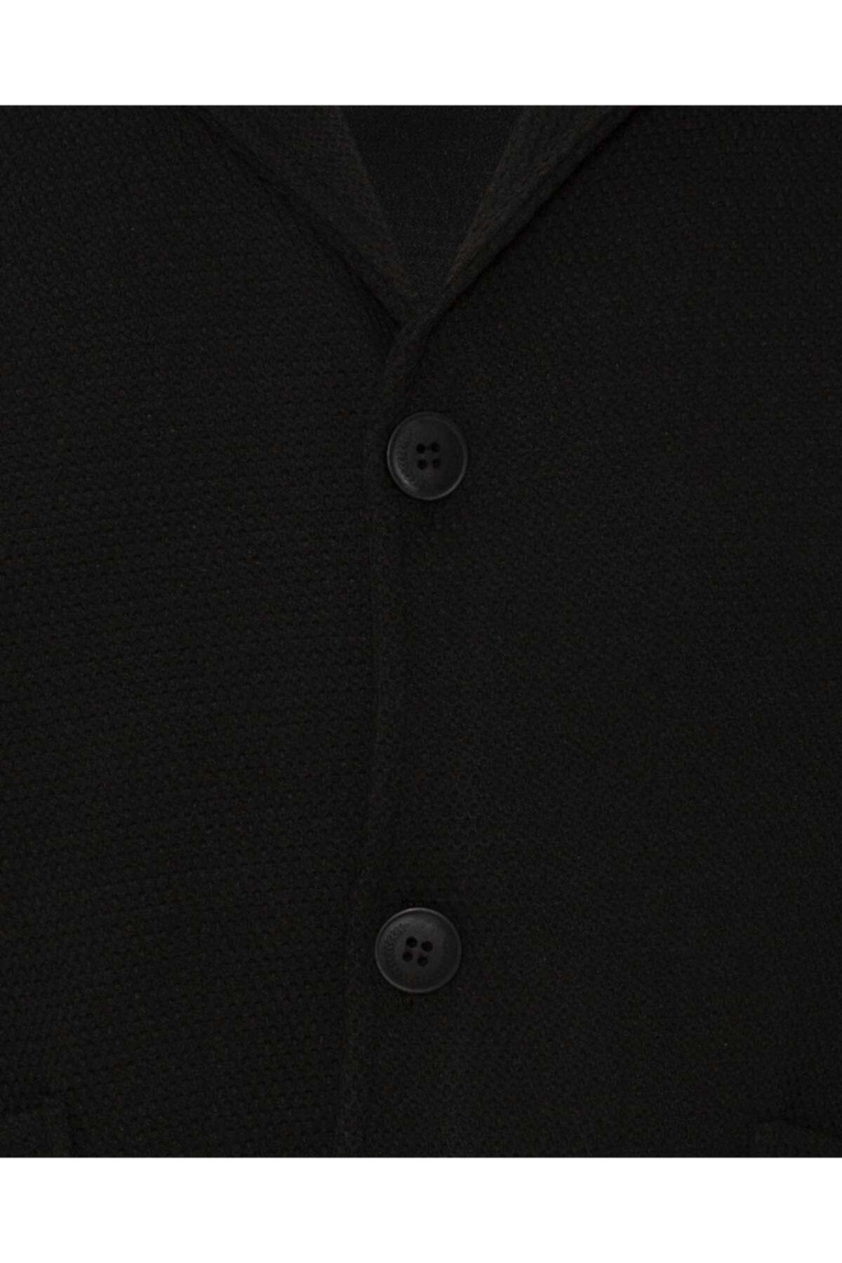 SÜVARİ Erkek Siyah Düğmeli Takma Cep Hırka 2