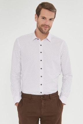ALTINYILDIZ CLASSICS Erkek Kahverengi Tailored Slim Fit Baskılı Gömlek