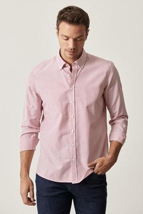 AC&Co / Altınyıldız Classics Erkek Kırmızı Tailored Slim Fit Çizgili Düğmeli Yaka Gömlek