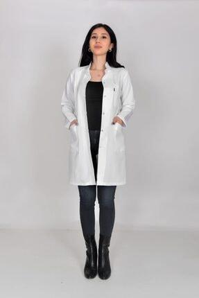 Refah İş Giyim Bayan Beyaz Hakim Yaka Öğretmen Doktor Çıtçıtlı Belden Oturtma Önlük
