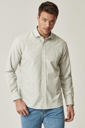 AC&Co / Altınyıldız Classics Erkek HAKI-LACI Tailored Slim Fit Dar Kesim İtalyan Yaka Baskılı Gömlek