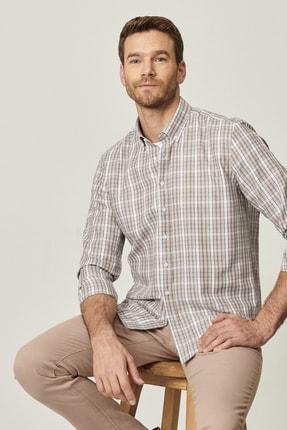 AC&Co / Altınyıldız Classics Erkek Bej-Mavi Tailored Slim Fit Dar Kesim Düğmeli Yaka Kareli Gömlek