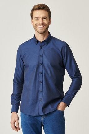 AC&Co / Altınyıldız Classics Erkek Lacivert Tailored Slim Fit Dar Kesim Düğmeli Yaka Gabardin Gömlek