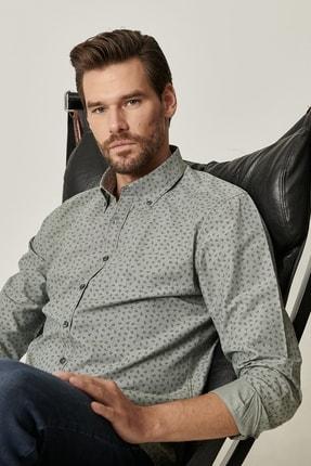 AC&Co / Altınyıldız Classics Erkek Haki Tailored Slim Fit Düğmeli Yaka Baskılı Gömlek