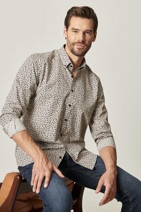 AC&Co / Altınyıldız Classics Erkek HAKI-LACI Tailored Slim Fit Düğmeli Yaka Baskılı Gömlek