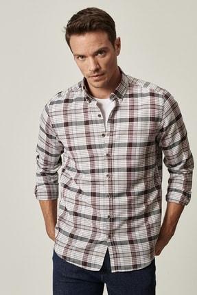 AC&Co / Altınyıldız Classics Erkek Antrasit-Bordo Tailored Slim Fit Düğmeli Yaka Kareli Gömlek