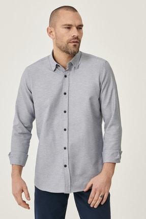 AC&Co / Altınyıldız Classics Erkek Gri Tailored Slim Fit Dar Kesim Düğmeli Yaka Oxford Gömlek