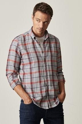 AC&Co / Altınyıldız Classics Erkek ANTRASIT-KIRMIZI Tailored Slim Fit Düğmeli Yaka Kareli Gömlek