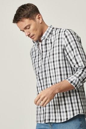 AC&Co / Altınyıldız Classics Erkek Gri-Siyah Tailored Slim Fit Dar Kesim Düğmeli Yaka Kareli Gömlek