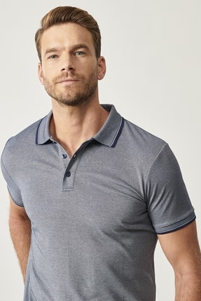 ALTINYILDIZ CLASSICS Erkek Lacivert Düğmeli Polo Yaka Cepsiz Slim Fit Dar Kesim Düz Tişört