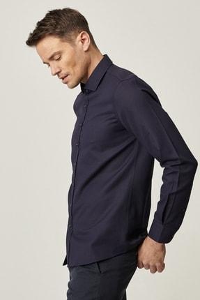 AC&Co / Altınyıldız Classics Erkek Lacivert Tailored Slim Fit Dar Kesim İtalyan Yaka Gömlek
