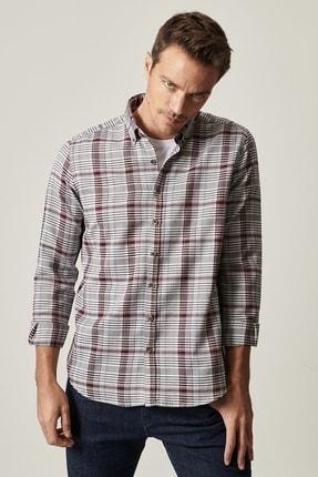 AC&Co / Altınyıldız Classics Erkek Bordo-Pembe Tailored Slim Fit Düğmeli Yaka Kareli Gömlek