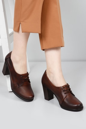 GÖNDERİ(R) Hakiki Deri Konyak Kadın Klasik Topuklu Ayakkabı 24287