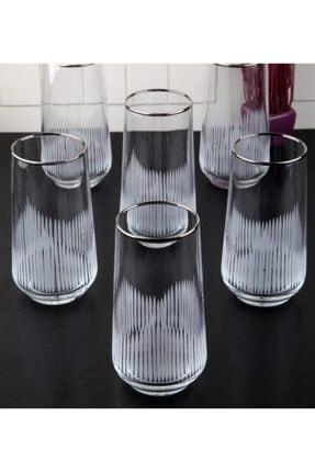 Paşabahçe Gümüş Yaldız Kesme El Dekoru Işlemeli Meşrubat Bardağı Seti 6 lı