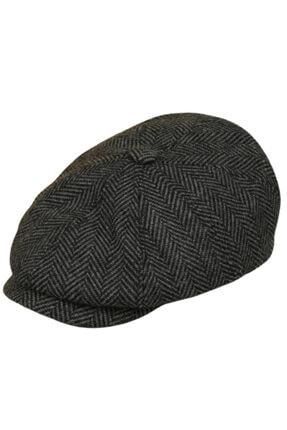 CosmoOutlet Ingiliz Stili Yünlü Kışlık Kasket Şapka [balıksırtı Füme]