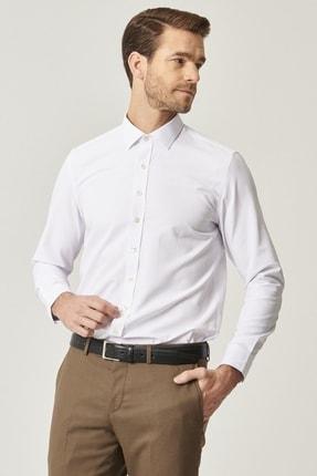 ALTINYILDIZ CLASSICS Erkek Beyaz Tailored Slim Fit Dar Kesim Klasik Gömlek Yaka Armürlü Gömlek