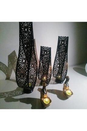 casseria Dekoratif Siyah 3' Lü Mumluk Şamdan Seti Ferforje Damla Model Yeni Tasarım