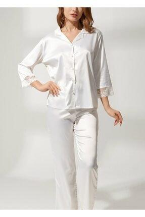 SUWEN Kadın Ekru Latte Lace Saten Pijama Takımı