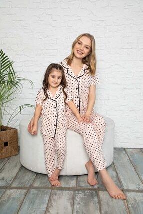 modalizy Anne Kız Puantiyeli Desen Pijama Kombin