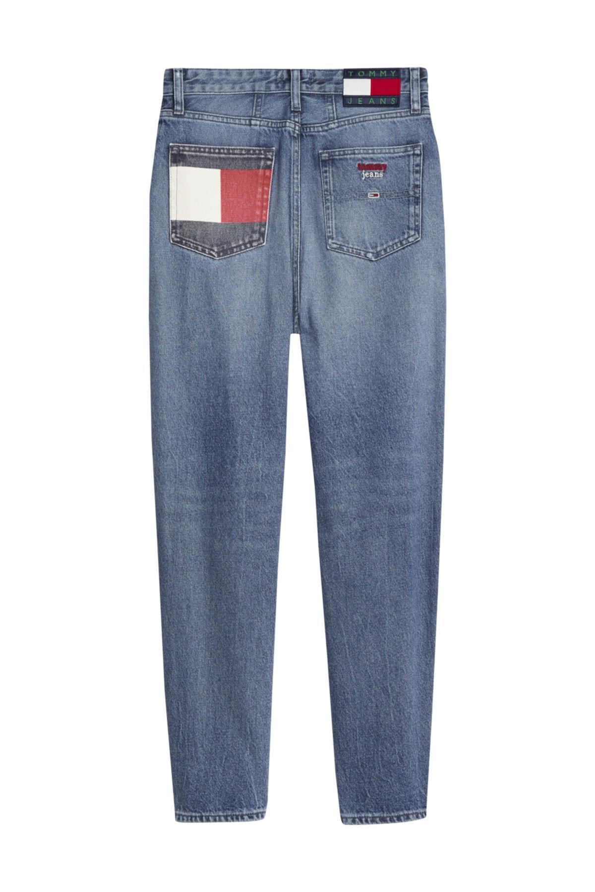 Tommy Hilfiger Kadın Denim Jeans Mom Jean Hr Tprd Btn Fly Svmbr DW0DW08650 2