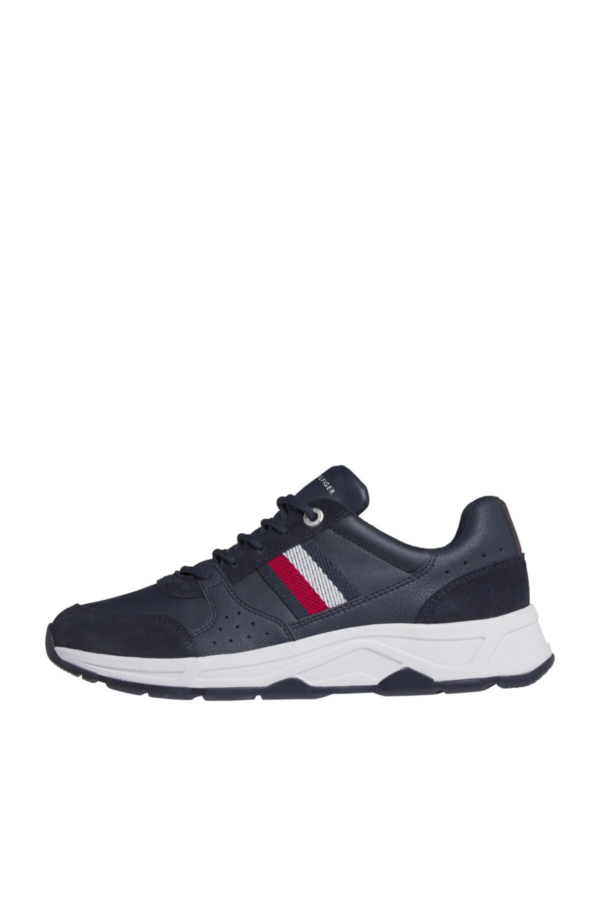 Tommy Hilfiger Erkek Mavi Sneaker Fashıon Deri Runner FM0FM03084 1