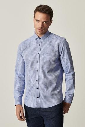 ALTINYILDIZ CLASSICS Erkek İndigo-Lacivert Tailored Slim Fit Dar Kesim Küçük İtalyan Yaka Baskılı Gömlek