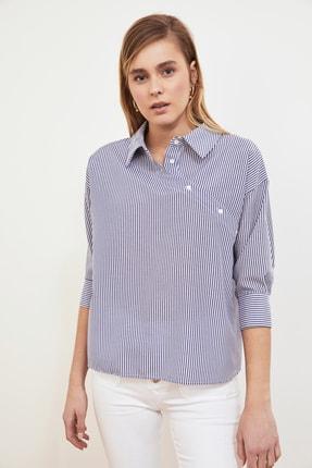 TRENDYOLMİLLA Lacivert Gömlek Yaka Bluz TWOSS21BZ0363