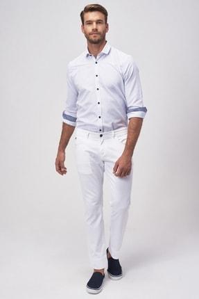 ALTINYILDIZ CLASSICS Erkek Beyaz Slim Fit Armürlü Pantolon