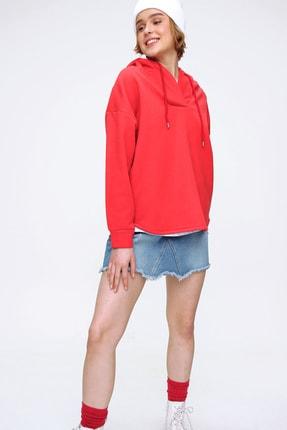 Trend Alaçatı Stili Kadın Kırmızı Çift Cep Kapşonlu İçi Polarlı Kışlık Sweatshirt ALC-X5747