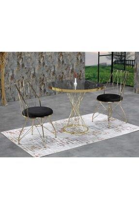 Ressa Home Fesla 2 Kişilik Siyah Mermerli Gold Oval Mutfak Masası Takımı