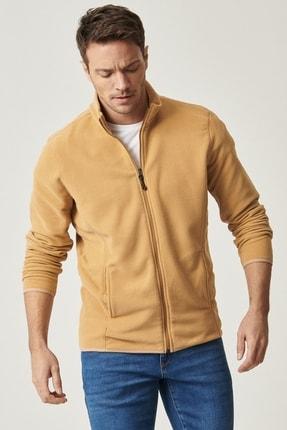 AC&Co / Altınyıldız Classics Erkek KARAMEL Standart Fit Günlük Rahat Tam Fermuarlı Bato Yaka Polar Spor Sweatshirt