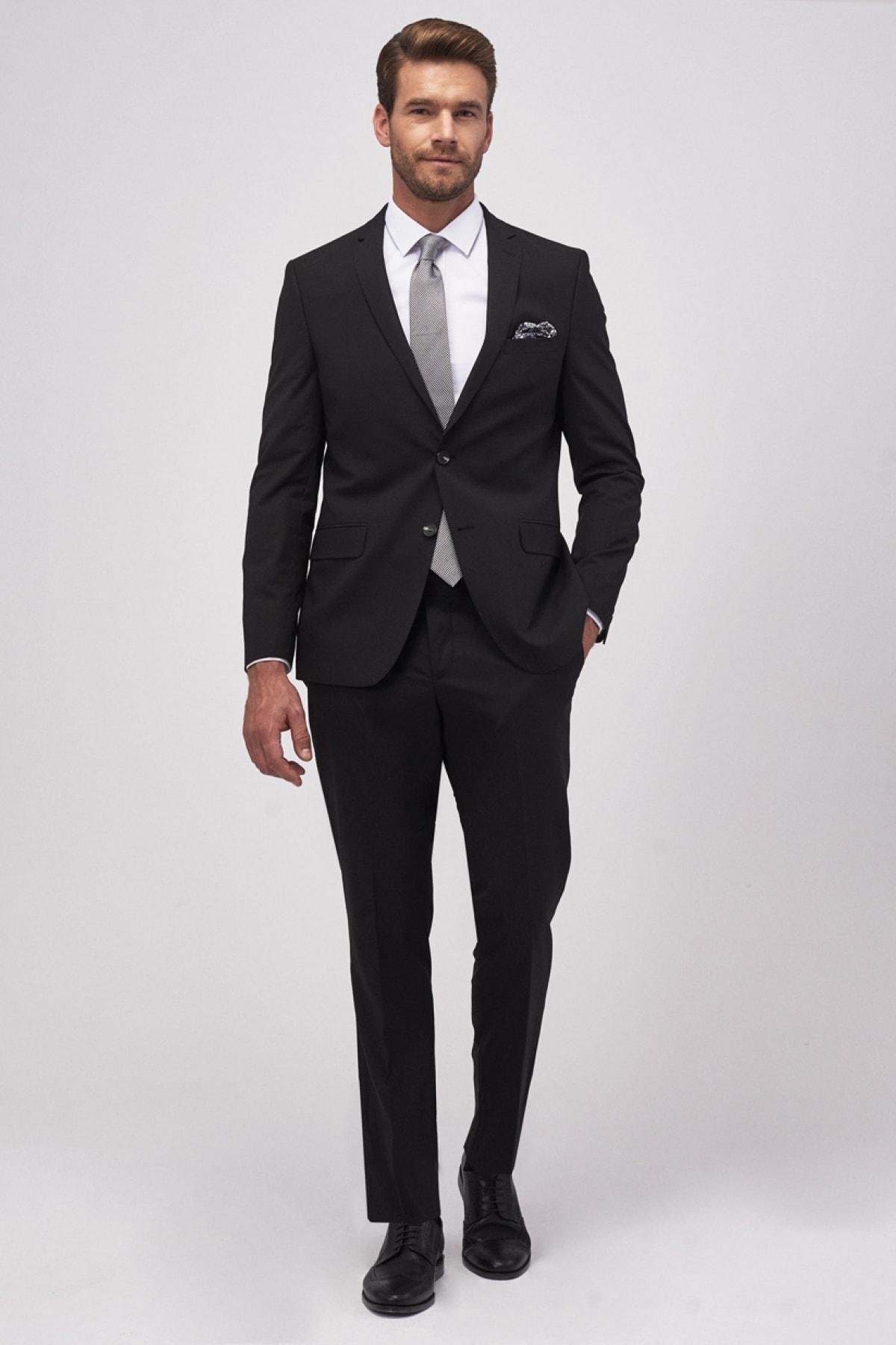 ALTINYILDIZ CLASSICS Erkek Siyah Slim Fit Takım Elbise 2