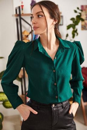 armonika Kadın Koyu Yeşil Karpuz Kol Gömlek ARM-20K001114