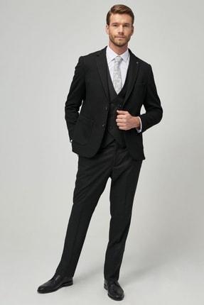 ALTINYILDIZ CLASSICS Erkek Siyah-Gri Slim Fit Desenli Kombinli Spor Takım Elbise