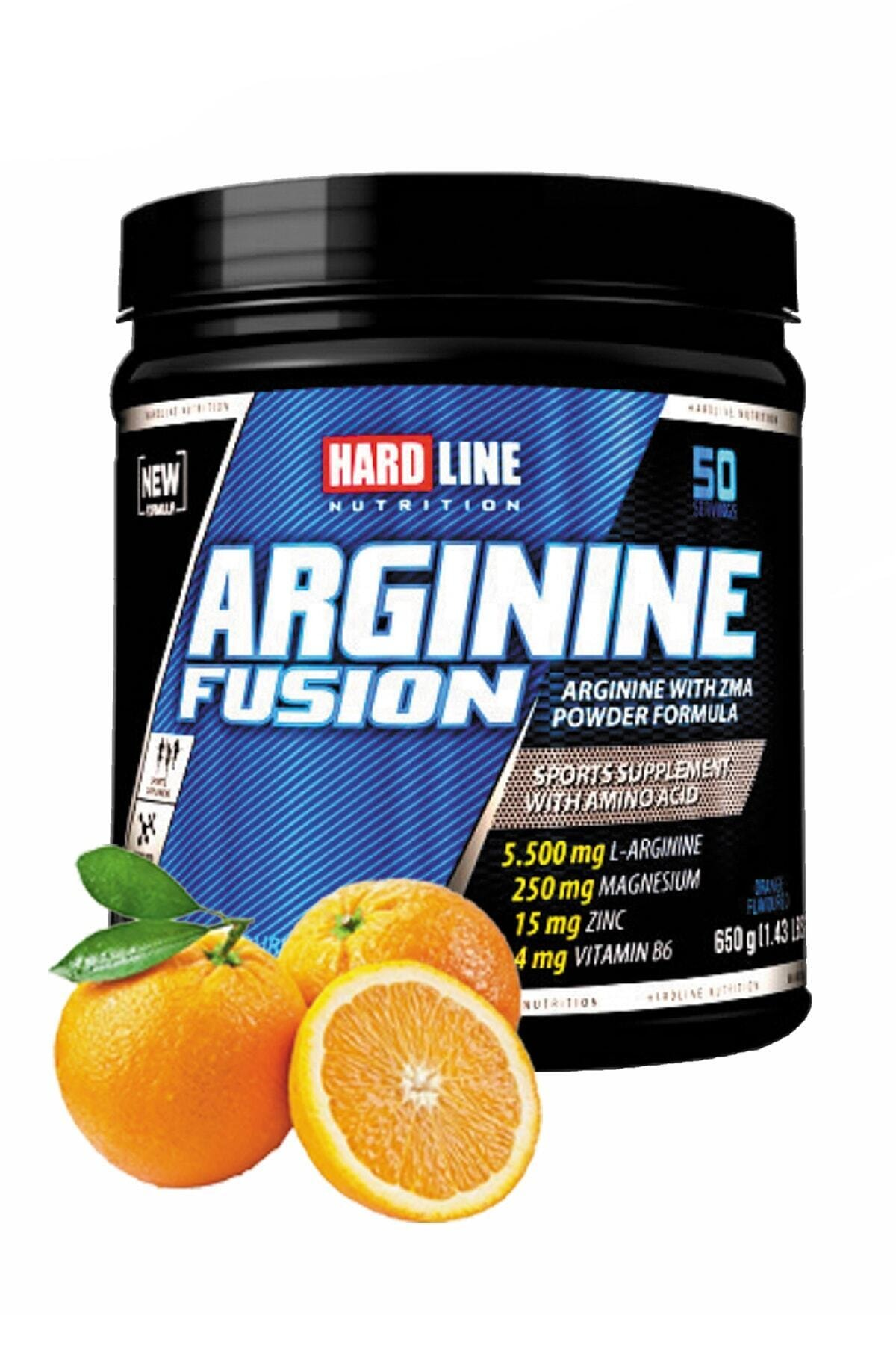 Hardline Arginine Fusıon Portakal 650 Gr Arjinin Bcaa Amino Aminoasit Magnezyum Çinko Vitamin B6 1
