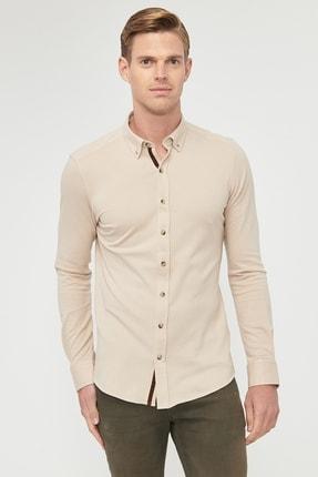 ALTINYILDIZ CLASSICS Erkek Bej 360 Derece Her Yöne Esneyen Düğmeli Yaka Örme Tailored Slim Fit Gömlek
