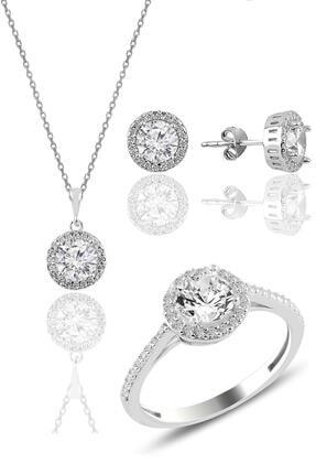Söğütlü Silver Gümüş Rodyumlu Zirkon Taşlı Yuvarlak Üçlü Set