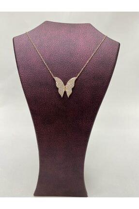 925Silver Kelebekli Tasarım Zirkon Taşlı Rose Gold Kaplı 925 Ayar Gümüş Kolye