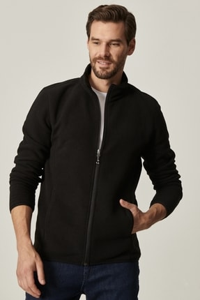 AC&Co / Altınyıldız Classics Erkek Siyah Standart Fit Günlük Rahat Tam Fermuarlı Bato Yaka Polar Spor Sweatshirt