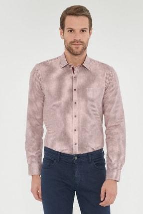 ALTINYILDIZ CLASSICS Erkek Bordo Tailored Slim Fit Dar Kesim Klasik Gömlek Yaka Kışlık Gömlek