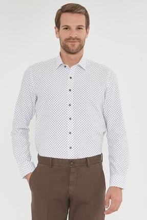 ALTINYILDIZ CLASSICS Erkek Haki Tailored Slim Fit Baskılı Gömlek