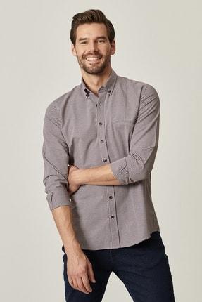 AC&Co / Altınyıldız Classics Erkek Bordo-Beyaz Tailored Slim Fit Düğmeli Yaka Kareli Gömlek