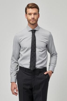 ALTINYILDIZ CLASSICS Erkek Açık Gri Tailored Slim Fit Armürlü Gömlek