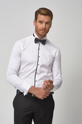 ALTINYILDIZ CLASSICS Erkek Beyaz-Siyah Damatlık Ata Yaka Tailored Slim Fit Gömlek
