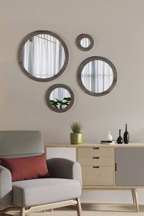 bluecape Doğal Ağaç Masif Gri Çerçeve 4'lü Set Antre Koridor Duvar Salon Banyo Ofis Çocuk Yatak Odası Ayna