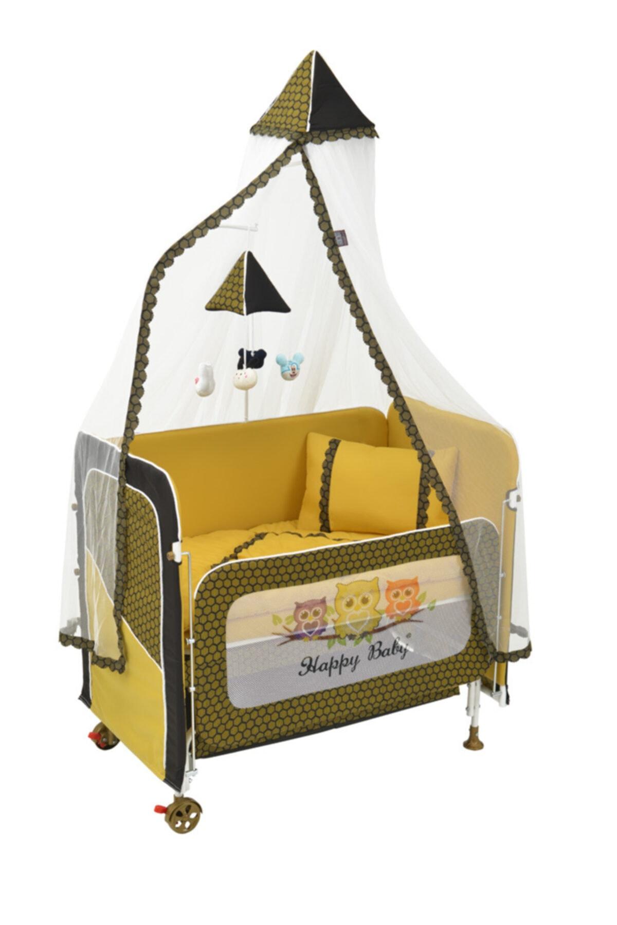 Happy Baby Asansörlü Anne Yanı Bebek Beşik- Sarı 1
