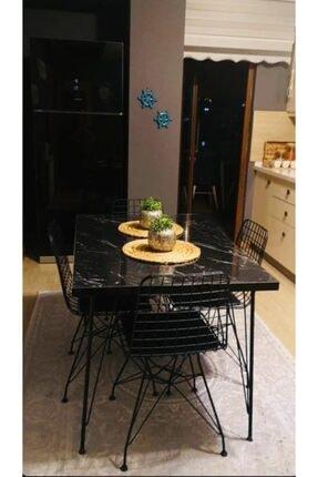 AVVİO Defne 4 Kişilik Yemek Masası Takımı-mutfak Masası Takımı-siyah Mermer Desenli