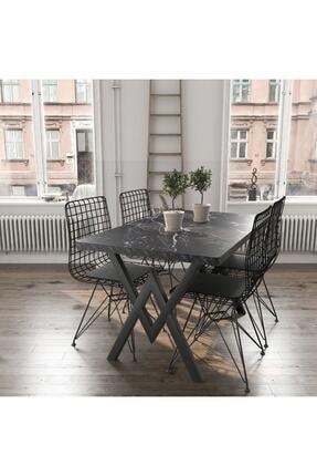 AVVİO Siyah Mermer Görünümlü Masa Sandalye Takımı 4 Kişilik
