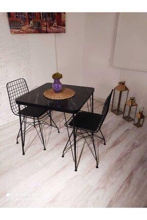 AVVİO Helena 2 Kişilik Yemek Masası Takımı-mutfak Masası Takımı-siyah Mermer Görünümlü